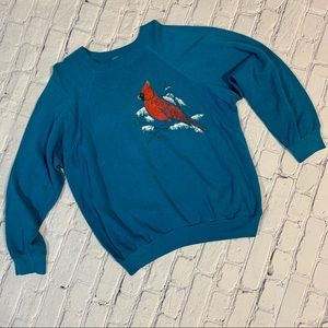 Vintage Cardinal Bird Painted Crewneck Sweatshirt